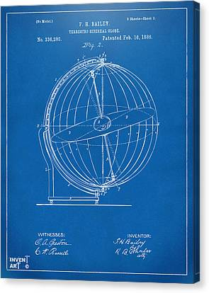 1886 Terrestro Sidereal Globe Patent 2 Artwork - Blueprint Canvas Print by Nikki Marie Smith