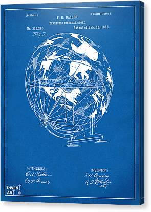 1886 Terrestro Sidereal Globe Patent Artwork - Blueprint Canvas Print by Nikki Marie Smith
