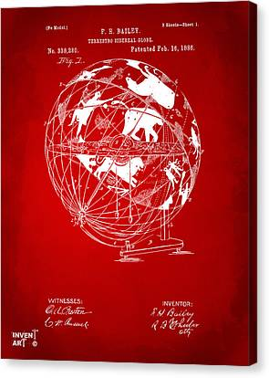 1886 Terrestro Sidereal Globe Patent Artwork - Red Canvas Print by Nikki Marie Smith