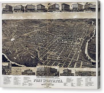 1886 Vintage Map Of Fort Worth Canvas Print by Stephen Stookey