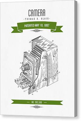 1887 Camera Patent Drawing - Retro Green Canvas Print