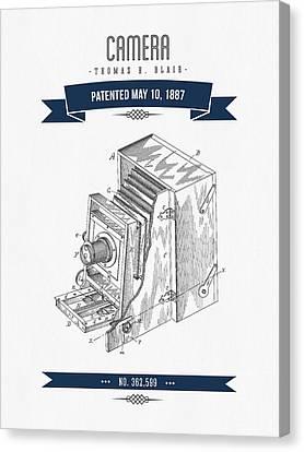 1887 Camera Patent Drawing - Retro Navy Blue Canvas Print