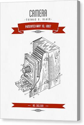 1887 Camera Patent Drawing - Retro Red Canvas Print by Aged Pixel