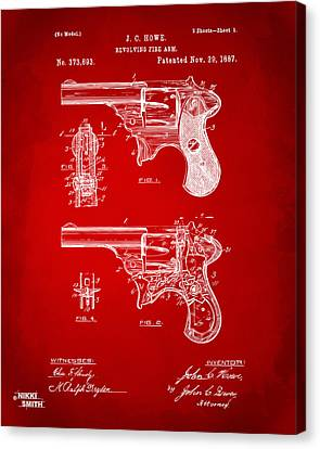 Howe Canvas Print - 1887 Howe Revolver Patent Artwork - Red by Nikki Marie Smith