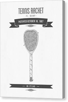 1887 Tennis Racket Patent Drawing - Retro Gray Canvas Print by Aged Pixel