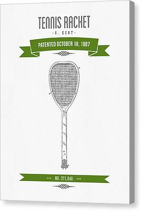 1887 Tennis Racket Patent Drawing - Retro Green Canvas Print by Aged Pixel