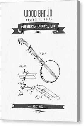 1887 Wood Banjo Patent Drawing Canvas Print by Aged Pixel