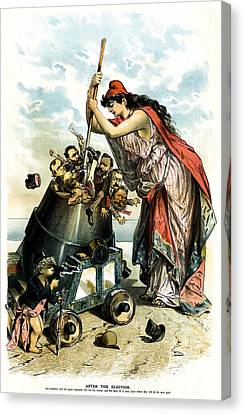 1888 Anti Us Labor Party Cartoon Canvas Print by Historic Image