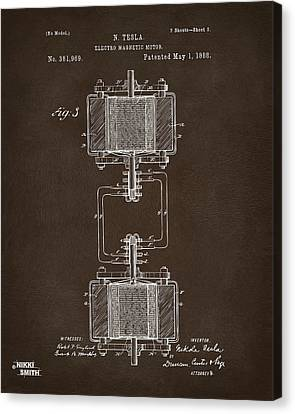1888 Tesla Electro Magnetic Motor Patent Espresso Canvas Print by Nikki Marie Smith