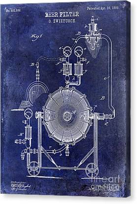 1889 Beer Filter Patent Drawing Blue  Canvas Print by Jon Neidert