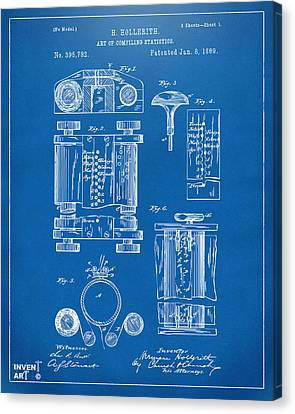 1889 First Computer Patent Blueprint Canvas Print by Nikki Marie Smith