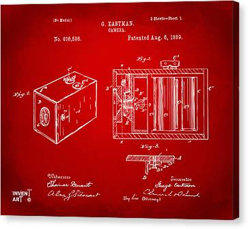 Innovator Canvas Print - 1889 George Eastman Camera Patent Red by Nikki Marie Smith