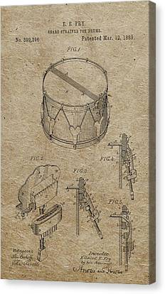 1889 Snare Drum Patent Vintage Paper Canvas Print by Dan Sproul