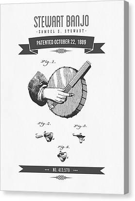 1889 Stewart Banjo Patent Drawing Canvas Print by Aged Pixel