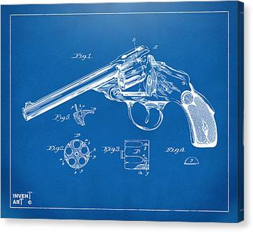 1889 Wesson Revolver Patent Minimal - Blueprint Canvas Print by Nikki Marie Smith