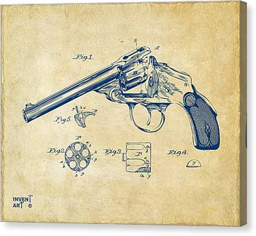 1889 Wesson Revolver Patent Minimal - Vintage Canvas Print by Nikki Marie Smith