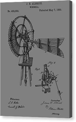 1889 Windmill Patent Canvas Print