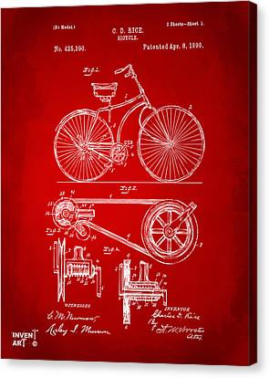 1890 Bicycle Patent Artwork - Red Canvas Print