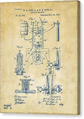 1890 Bottling Machine Patent Artwork Vintage Canvas Print by Nikki Marie Smith