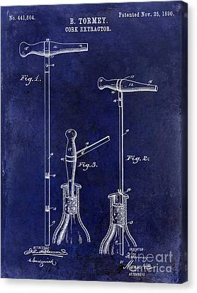 Cheese Canvas Print - 1890 Cork Extractor Patent Drawing Blue by Jon Neidert