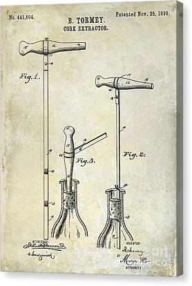 Cheese Canvas Print - 1890 Cork Extractor Patent Drawing by Jon Neidert