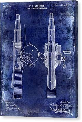 1890 Fishing Reel Patent Drawing  Blue Canvas Print by Jon Neidert