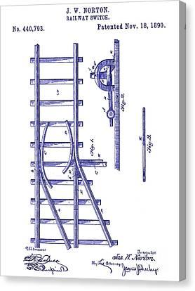1890 Railway Switch Patent Blueprint Canvas Print