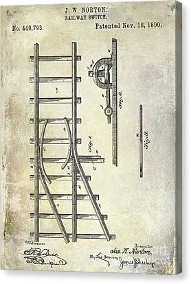 1890 Railway Switch Patent Drawing Canvas Print