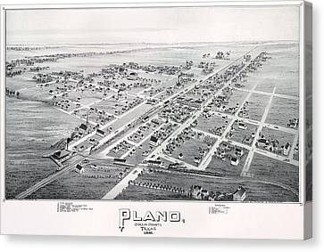 1890 Vintage Map Of Plano Texas Canvas Print