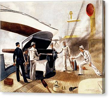 Armor Canvas Print - 1890s 1891 Armored Cruiser Us Navy Gun by Vintage Images