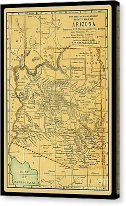 1891 Arizona Map Canvas Print