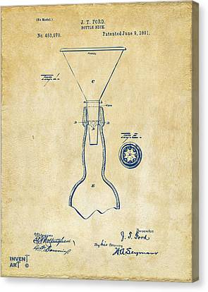 1891 Bottle Neck Patent Artwork Vintage Canvas Print
