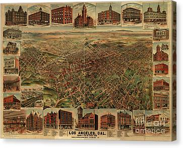 1891 Los Angeles California Vintage Map Canvas Print by Edward Fielding