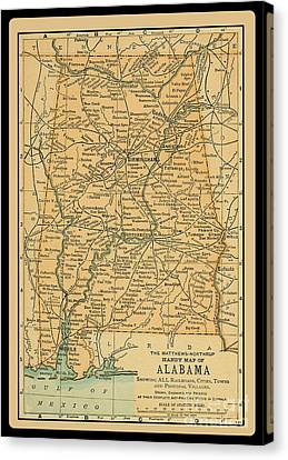 1891 Map Of Alabama Canvas Print by Phil Cardamone
