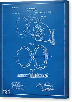 1891 Police Nippers Handcuffs Patent Artwork - Blueprint Canvas Print by Nikki Marie Smith