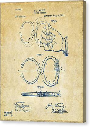 1891 Police Nippers Handcuffs Patent Artwork - Vintage Canvas Print by Nikki Marie Smith