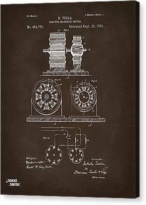 1891 Tesla Electro Magnetic Motor Patent Espresso Canvas Print