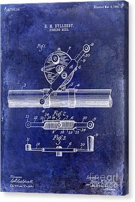 1892 Fishing Reel Patent Drawing Blue Canvas Print by Jon Neidert
