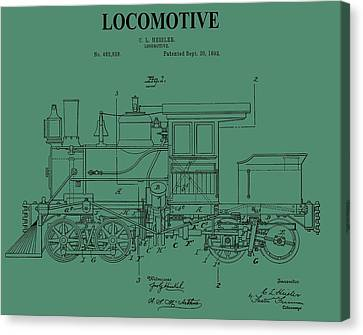1892 Locomotive Patent On Green Canvas Print by Dan Sproul