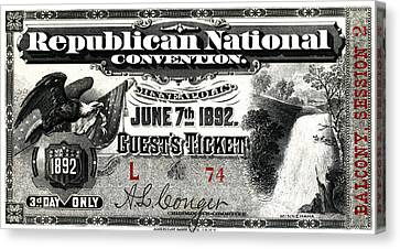 1892 Republican Convention Ticket Canvas Print by Historic Image