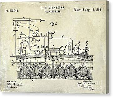 1893 Beer Brewing Patent Drawing Canvas Print by Jon Neidert