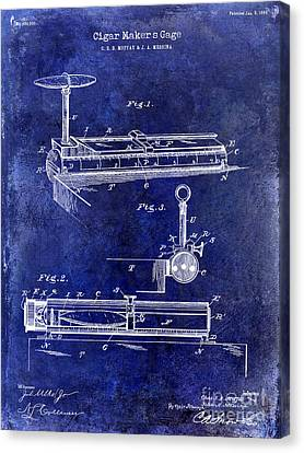 1893 Cigar Makers Gage Patent Drawing Blue Canvas Print