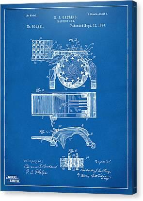 1893 Gatling Machine Gun Feed Patent Artwork - Blueprint Canvas Print by Nikki Marie Smith