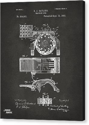 1893 Gatling Machine Gun Feed Patent Artwork - Gray Canvas Print by Nikki Marie Smith