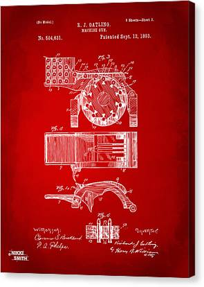 1893 Gatling Machine Gun Feed Patent Artwork - Red Canvas Print
