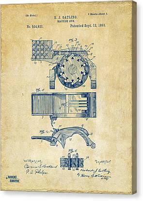 1893 Gatling Machine Gun Feed Patent Artwork - Vintage Canvas Print by Nikki Marie Smith