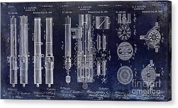 1893 Gatling Machine Gun Patent Drawing Blue Canvas Print