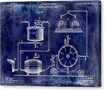 1893 Manufacture Of Beer Patent Drawing Blue Canvas Print by Jon Neidert