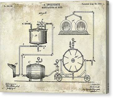 1893 Manufacture Of Beer Patent Drawing Canvas Print by Jon Neidert