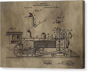 1894 Locomotive Patent Canvas Print by Dan Sproul